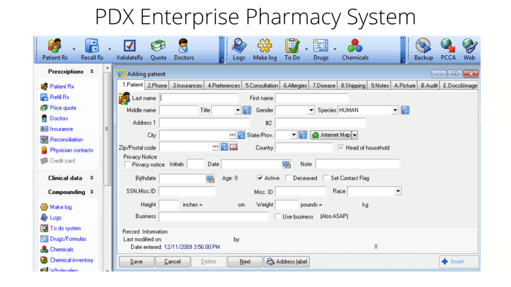 PDX Enterprise Pharmacy System- 10 Best Pharmacy Software For Improved Medical Practices